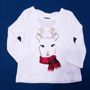 💖6M Christmas Long Sleeved Tee | Sparkley Deer